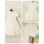 A-line Knee-length Flower Girl Dress - Cotton / Tulle Short Sleeve Flower Girl Dresses