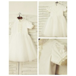A-line Knee-length Flower Girl Dress - Cotton / Tulle Short Sleeve