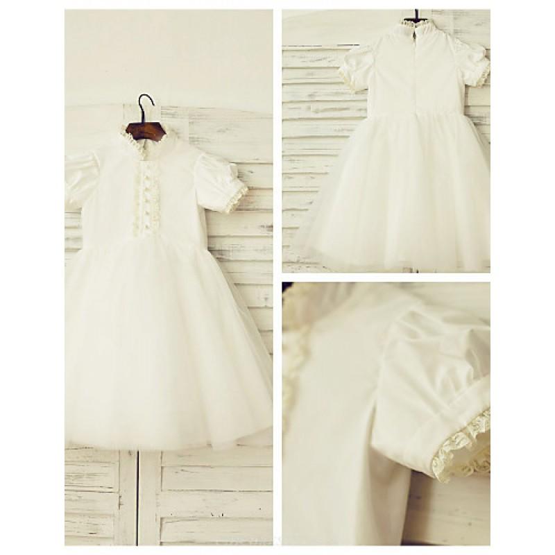 A Line Knee Length Flower Girl Dress Cotton Tulle Short Sleeve