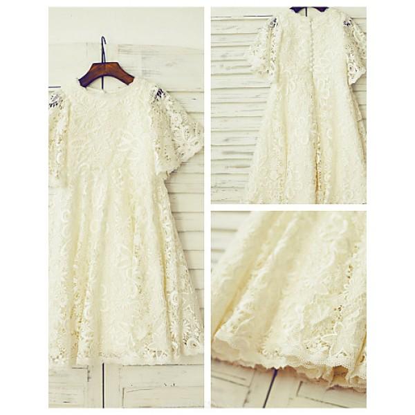 A-line Knee-length Flower Girl Dress - Lace Short Sleeve Flower Girl Dresses