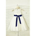 A-line Knee-length Flower Girl Dress - Lace Sleeveless Flower Girl Dresses