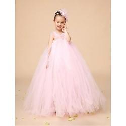Flower Girl Dress Floor Length Tulle Ball Gown Sleeveless Dress(Headpiece Not Include)