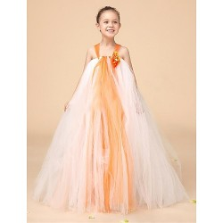 Flower Girl Dress Floor Length Tulle Ball Gown Sleeveless Dress(Headpiece Not Include)