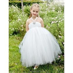 Flower Girl Dress Tea-length Tulle Ball Gown Sleeveless Dress(Headpiece Not Include)