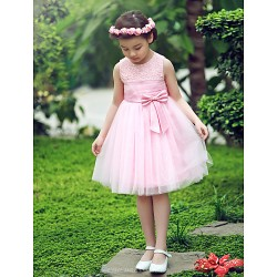 A Line Ball Gown Princess Knee Length Flower Girl Dress Satin Tulle Short Sleeve
