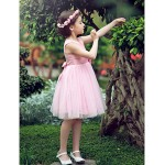 A-line/Ball Gown/Princess Knee-length Flower Girl Dress - Satin/Tulle Short Sleeve Flower Girl Dresses