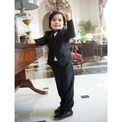 Black Polester Cotton Blend Ring Bearer Suit 4 Pieces