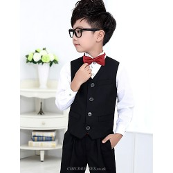 Black Red Polester Cotton Blend Ring Bearer Suit 4 Pieces