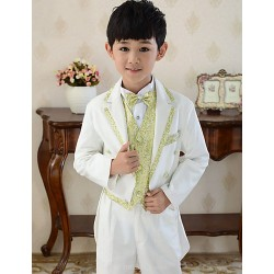 White Uniform Cloth / Polester/Cotton Blend Ring Bearer Suit - 5 Pieces