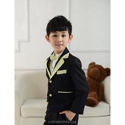 Black White Polester Cotton Blend Ring Bearer Suit 5 Pieces