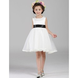 A-line Knee-length Flower Girl Dress - Tulle / Polyester Sleeveless