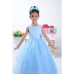 Ball Gown Ankle Length Flower Girl Dress Satin Tulle Sleeveless