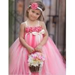 Ball Gown Ankle-length Flower Girl Dress - Tulle / Polyester Sleeveless Flower Girl Dresses