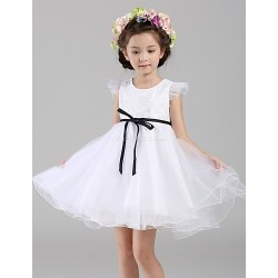 A-line Short/Mini Flower Girl Dress - Lace / Organza Short Sleeve