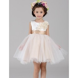 A-line Short/Mini Flower Girl Dress - Satin / Tulle Sleeveless