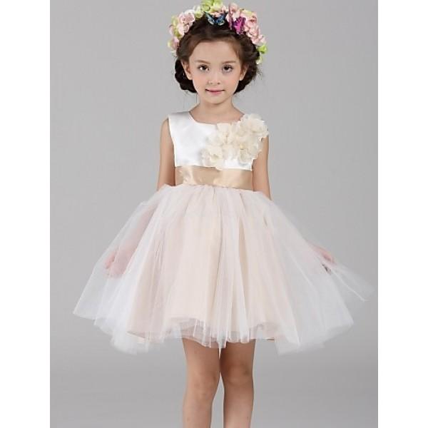 A-line Short/Mini Flower Girl Dress - Satin / Tulle Sleeveless Flower Girl Dresses