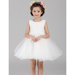 A Line Short Mini Flower Girl Dress Lace Organza Sleeveless
