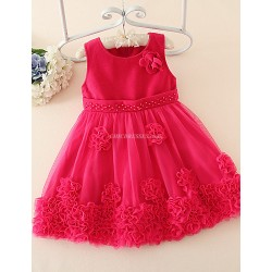 A Line Knee Length Flower Girl Dress Tulle Woolen Cloth Sleeveless