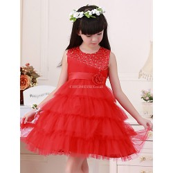 A Line Short Mini Flower Girl Dress Satin Tulle Sleeveless