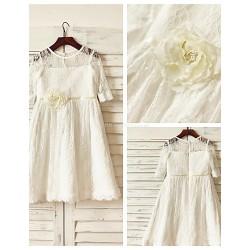 A-line Knee-length Flower Girl Dress - Lace Half Sleeve