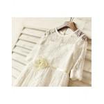 A-line Knee-length Flower Girl Dress - Lace Half Sleeve Flower Girl Dresses