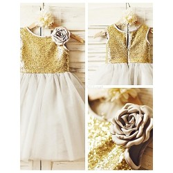 A Line Knee Length Flower Girl Dress Tulle Sequined Sleeveless