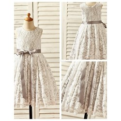 A Line Tea Length Flower Girl Dress Lace Satin Sleeveless
