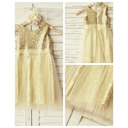 Sheath Column Knee Length Flower Girl Dress Tulle Sequined Sleeveless