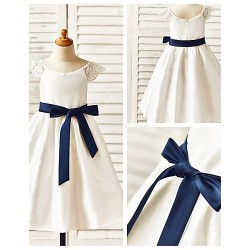 A Line Tea Length Flower Girl Dress Taffeta Short Sleeve