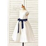 A-line Tea-length Flower Girl Dress - Taffeta Short Sleeve Flower Girl Dresses