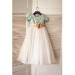 A-line Floor-length Flower Girl Dress - Tulle / Sequined Short Sleeve Flower Girl Dresses