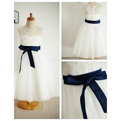 A Line Tea Length Flower Girl Dress Lace Tulle Sleeveless