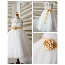 A Line Ankle Length Flower Girl Dress Lace Tulle Sleeveless