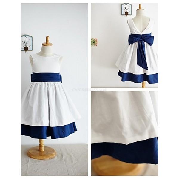 A-line Knee-length Flower Girl Dress - Taffeta Sleeveless Flower Girl Dresses