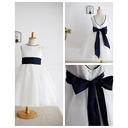 A Line Knee Length Flower Girl Dress Satin Tulle Sleeveless