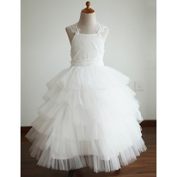 Ball Gown Ankle Length Flower Girl Dress Lace Tulle Sleeveless