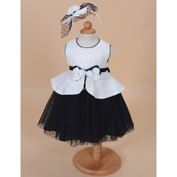 A Line Knee Length Flower Girl Dress Tulle Jersey Sleeveless