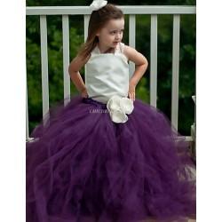 Ball Gown Ankle Length Flower Girl Dress Tulle Polyester Sleeveless