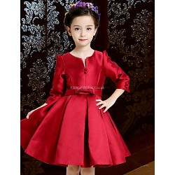A Line Knee Length Flower Girl Dress Satin 3 4 Length Sleeve