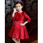 A-line Knee-length Flower Girl Dress - Satin 3/4 Length Sleeve Flower Girl Dresses