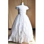 A-line Floor-length Flower Girl Dress/Communion Dress - Satin / Tulle Short Sleeve Flower Girl Dresses