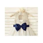A-line Knee-length Flower Girl Dress - Lace / Tulle Sleeveless Flower Girl Dresses