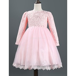 A Line Knee Length Flower Girl Dress Lace Tulle Polyester Long Sleeve