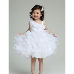 A Line Knee Length Flower Girl Dress Organza Sleeveless