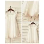 Sheath/Column Knee-length Flower Girl Dress - Chiffon / Lace Short Sleeve Flower Girl Dresses