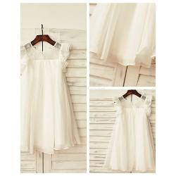Sheath/Column Knee-length Flower Girl Dress - Chiffon / Lace Short Sleeve