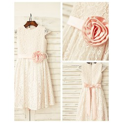 Sheath Column Knee Length Flower Girl Dress Lace Short Sleeve
