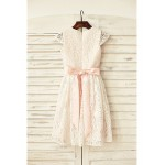 Sheath/Column Knee-length Flower Girl Dress - Lace Short Sleeve Flower Girl Dresses