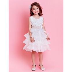 Ball Gown Knee-length Flower Girl Dress - Organza Sleeveless