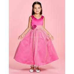 A Line Princess Ankle Length Flower Girl Dress Satin Tulle